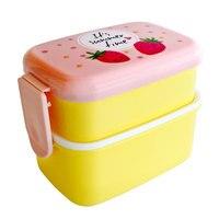 식기 액세서리 한국어 스타일 더블 레이어 도시락 어린이 어린이 식품 저장 용기 휴대용 도시락 상자 식기류