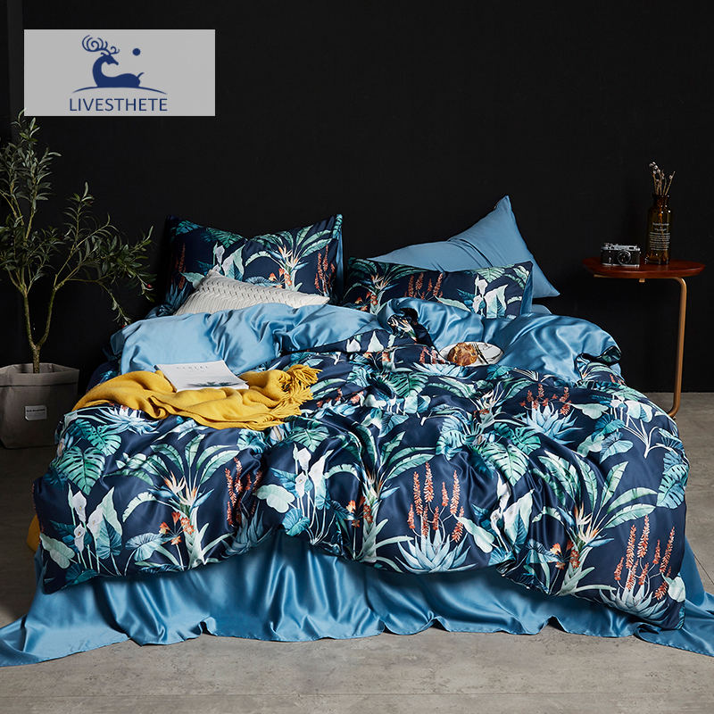 Liv-Esthete Fashion Turtle Leaf 100% Silk Blue Bedding Set Silky Duvet Cover Healthy Skin Pillowcase Flat Sheet Bed Linen Home