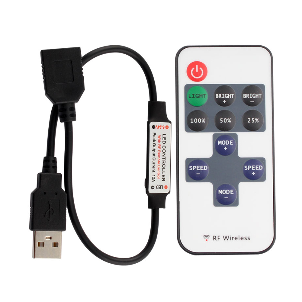 11 Keys LED Strip Controller Mini Dimmer RF Remote 5V USB Interface Controller For 5050/2835  Single Color LED Strip