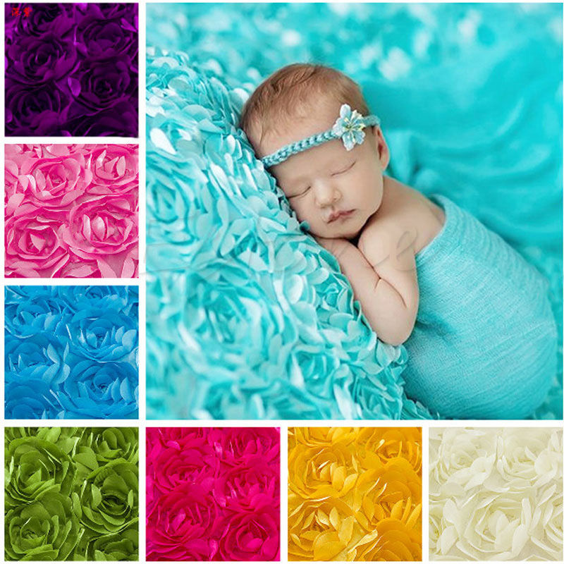 Newborn Baby 3D Photography Photo Prop Rose Flower Backdrop Blanket Rug 11 Colors
