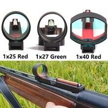 ยุทธวิธี1x2 5/1x2 7/1X40เส้นใยสีแดง/สีเขียวDot SightขอบเขตHolographic Sight Fit shotgunซี่โครงRailการล่าสัตว์