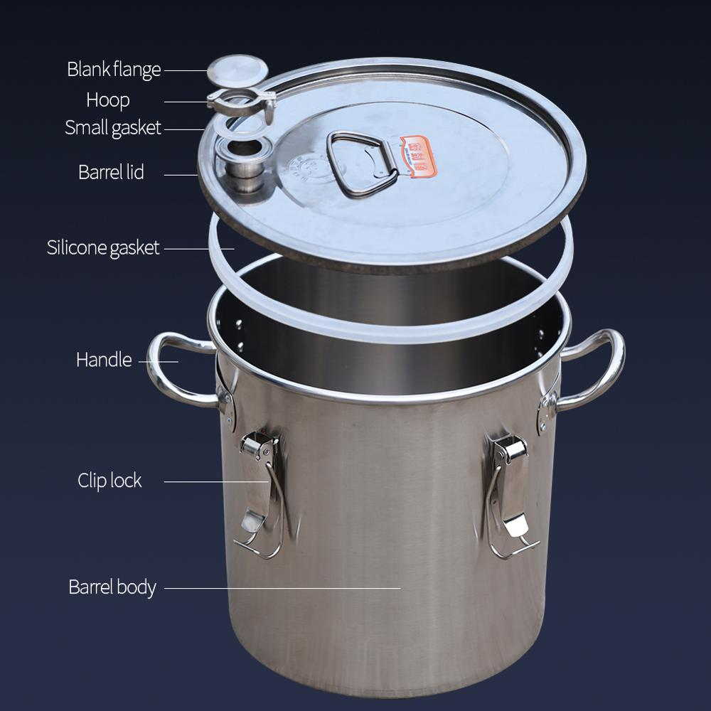 New 201/304 Stainless Steel Fermentation Barrel Single/Double Bottom Sealed Barrel Home Brewing Liquor Rice Flour Storage Barrel
