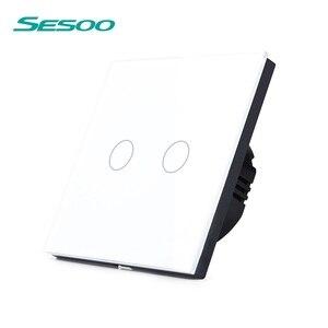 SESOO, стандарт ЕС, сенсорный выключатель, 2 банды, 1 способ, белый, Хрустальная стеклянная панель, умный светильник, настенный выключатель для д...