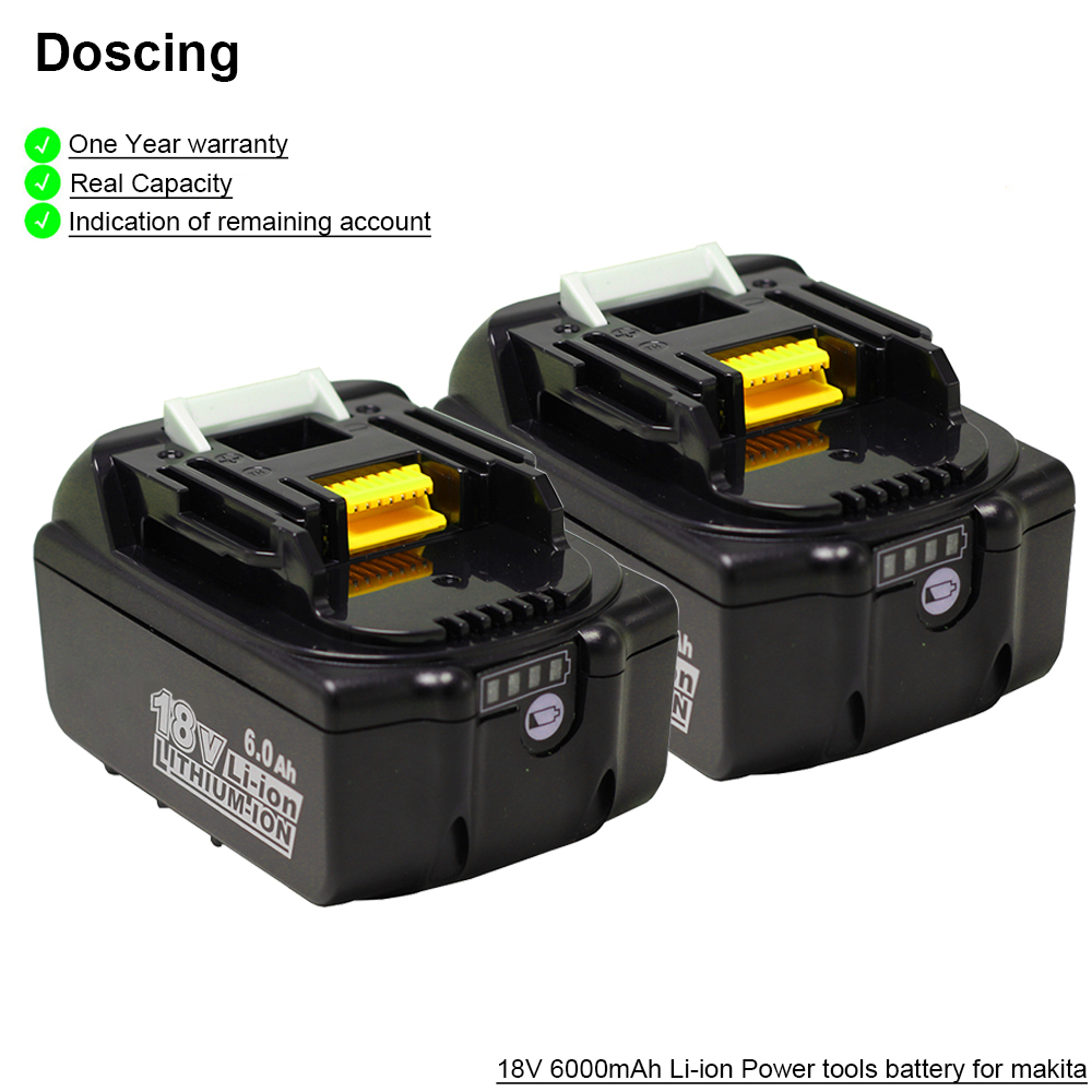 2Pcs Doscing Replacement Battery 18V Li-ion Battery For Makita BL1860 BL1850 BL1830 BL1840 194205-3 Power Tool + LED Indicator