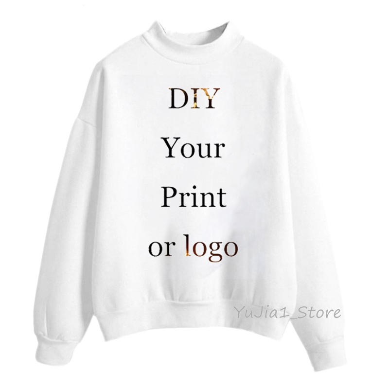 Customized Hoodies Women DIY Your Print Or Logo White Custom Hoodie Women's Sweatshirt Turtleneck Pullover Winter Sweat