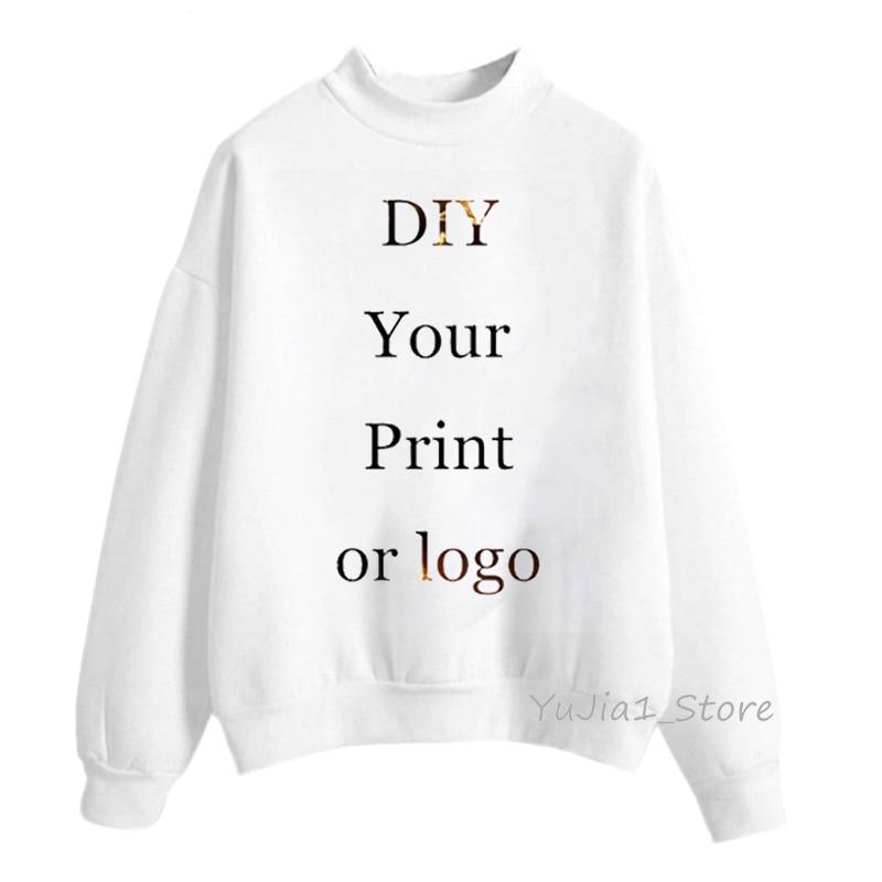 Женские толстовки с капюшоном на заказ с вашим принтом или логотипом, белая толстовка на заказ, Женская толстовка с высоким воротом, пуловер...