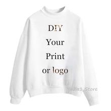 Customized hoodies women DIY Your Print or Logo White custom Hoodie women's sweatshirt turtleneck pullover winter sweat