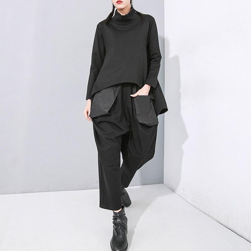 [EAM] Loose Fit Black Split Asymmetrical Sweatshirt New Turtleneck Long Sleeve Women Big Size Fashion Tide Spring 2020 1N482 4