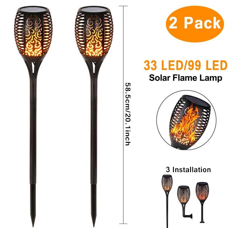 Solar 96LEDs LED Flame Lamp Waterproof Lawn Dancing Flicker Torch Lights Garden Decoration Landscape Path Lighting Spotlight