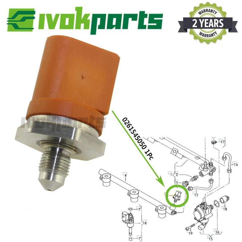 06J906051D Car Oil Fuel Rail Pressure Sensor for A1 A3 A4 A4 Fuel Rail Pressure Sensor