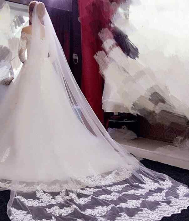 סיטונאי 3M שכבה אחת תחרה קצה עם מסרק לבן שנהב Catherdal רעלה כלה זול חתונה אביזרי Veu De noiva
