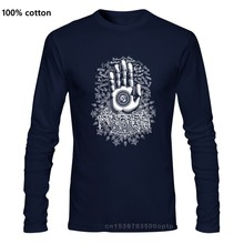 Black Cotton T Shirt Long Sleeve Summer Crew Neck Mens Hamas Hand Namaste Meditation Om Mani Peme Hung Tee Shirt