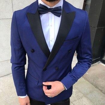 Custom Made Men Suit Wedding Suits For Men Peak Lapel Collar 2 Pieces Slim Fit Blue Suit Mens Groom Tuxedos Jacket+pants
