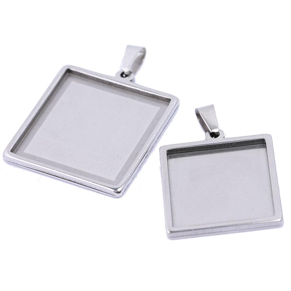 Reidgaller 10pcs Stainless Steel 20mm 25mm 30mm Square Cabochon Settings Diy Blank Bezel Pedant Base Trays For Jewelry Making