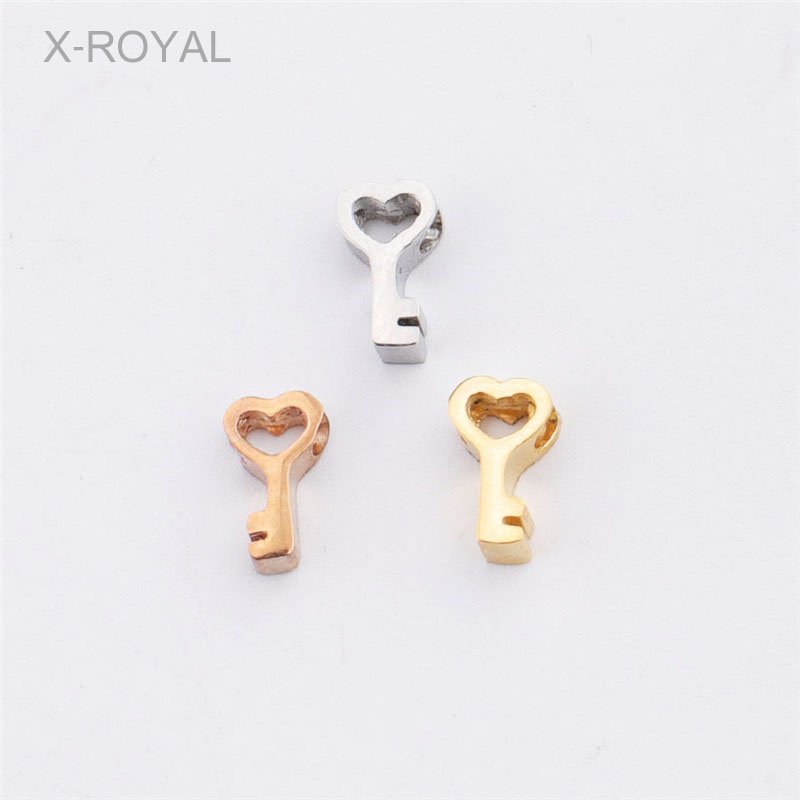X-ROYAL 10Pcs/lot Cute Heart Key Shape Small Hole Loose Beads Stainless Steel Hollow Gold Rose Spacer DIY Charm