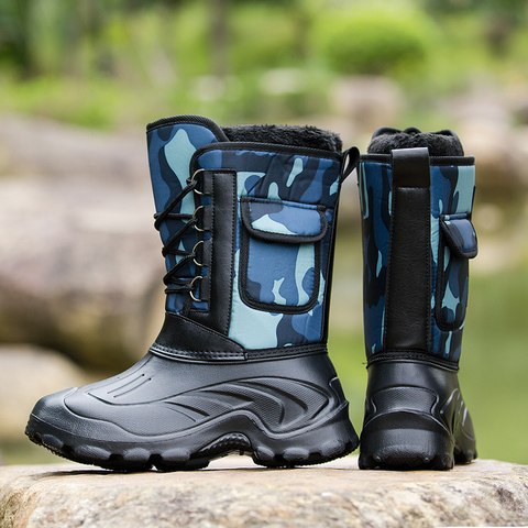 Waterproof Snow Boots Fishing Shoes Men Boots  Winter Warm Fur  Outdoor Camo Hunting Boots Camouflage winter shoes Size 41-46 Multan