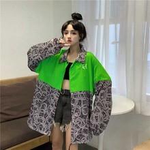 купить String Hem Contrast Block Chain Graphic Loose Oversized Blouse Cardigan Windbreaker Top Shirt Harajuku Hip Hop Punk Korean Blusa онлайн