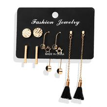 5 Pairs/Set Women Tassel Round Stud Earrings Set Fashion Mixed Long Sets