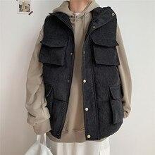 New Winter Corduroy Vest Jacket Mens Muti-pockets Warm Sleeveless Jackets Stand Collar Male Casual Waistcoat Veste Homme 5XL-M