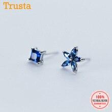 Trusta 100% 925 Solid Real Sterling Silver Women Jewelry Blu