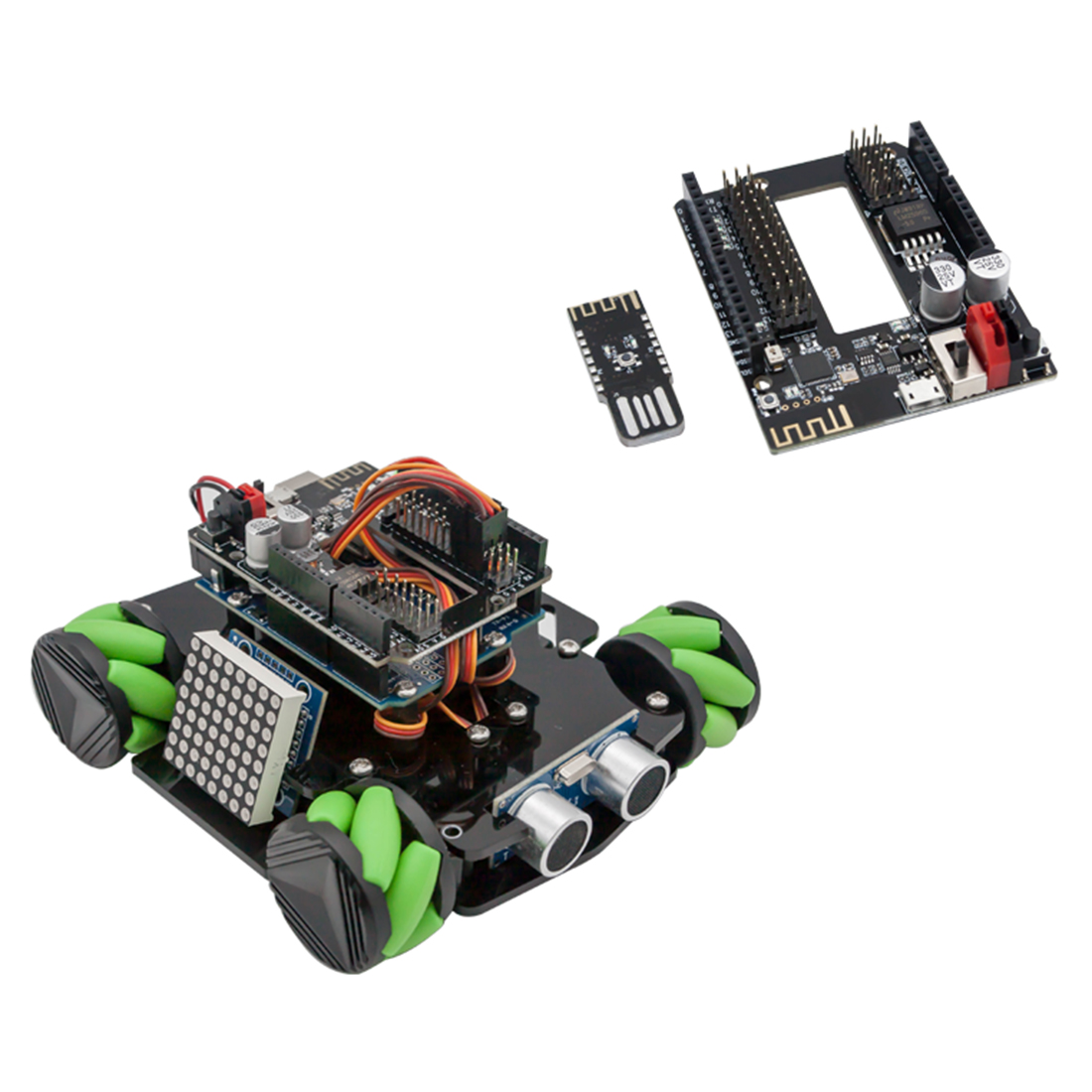 DIY Obstacle Avoidance Smart Programmable Robot Car Educational Learning Kit with Mecanum Wheels for Arduino UNO - 4 Sets 1