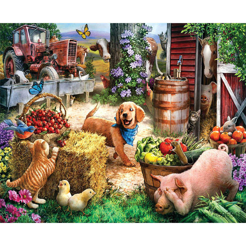 Painting By Numbers Frameworks Coloring By Numbers Home Decor Pictures Animal Dog Decorations RSB8389