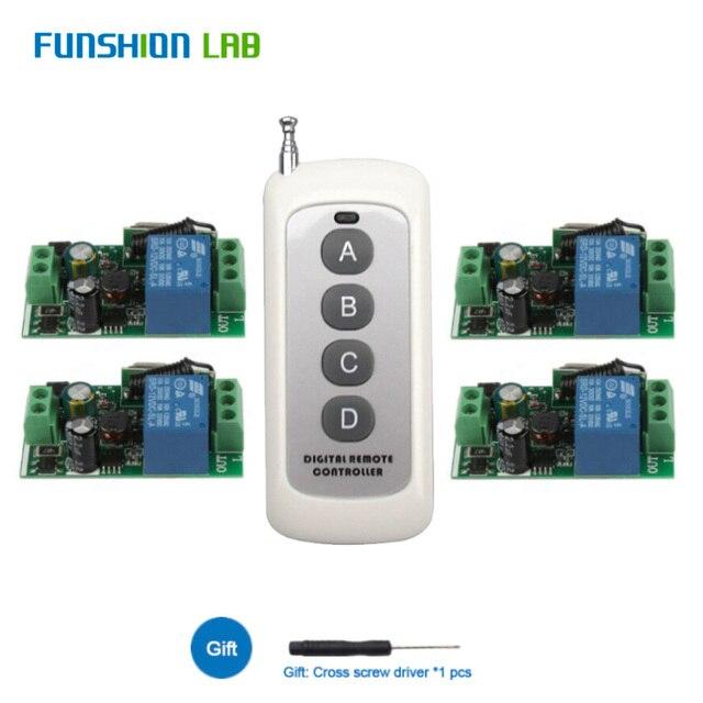 433Mhz האלחוטי אוניברסלי מתג AC 110V 220V 1 CH ממסר מקלט מודול עם 6 ערוץ RF Led מרחוק משדר