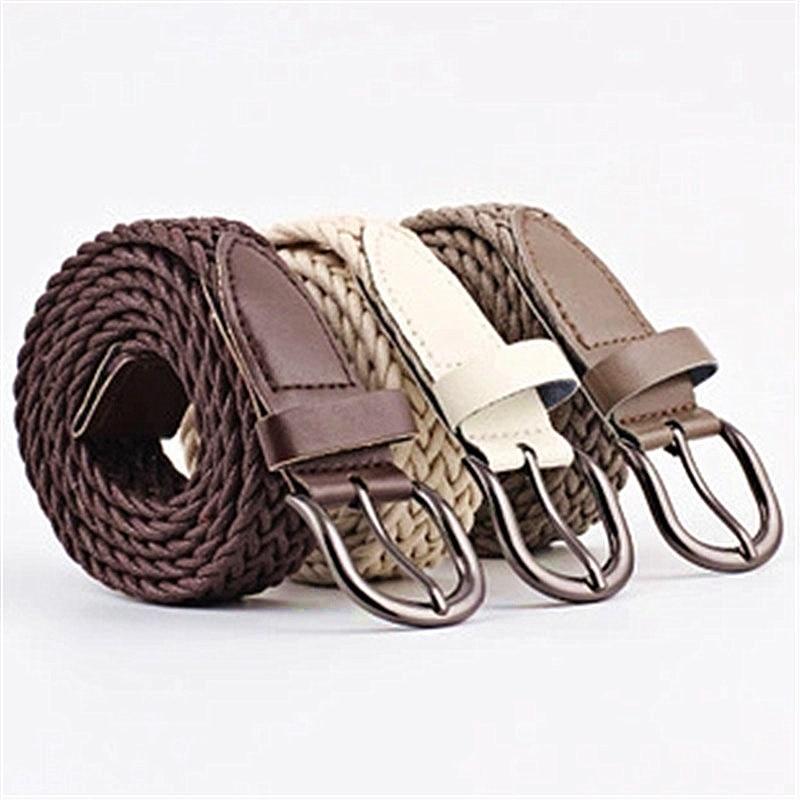 HEALMEYOU 1PCS NEW Fashion Buckle   Belts   Waistband High Quality Woven Canvas Women's Braided Vintage decorative   belt
