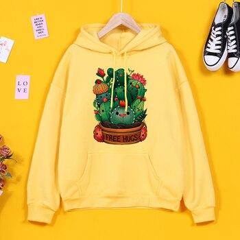 Hoodies Kawaii's cactus Cartoon Print Sweatshirt Woman With Hood Aesthetics Harajuku Women's Clothing Punk Autumn Hoodie Women 1