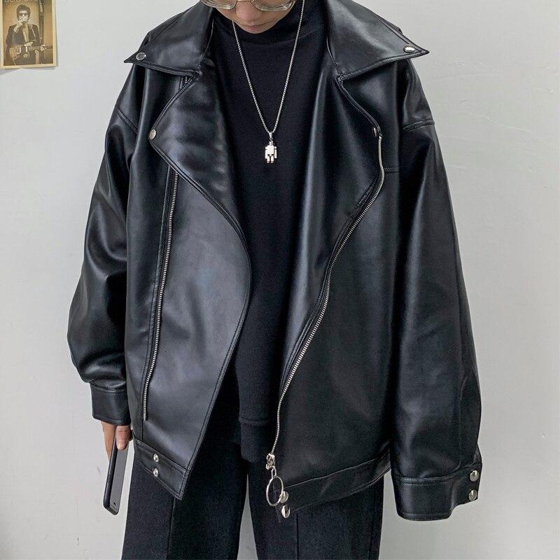 Новинка 2019, большой размер, зимняя, простая, популярная, мужская, свободная, Корейская версия, дикая, из искусственной кожи, Ретро стиль, повс...