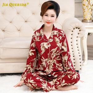 Image 2 - Skręcić w dół kołnierz Homesuit Homeclothes długi rękaw długie spodnie drukowanie piżamy piżamy piżamy zestaw Pj zestaw piżamy dla kobiet