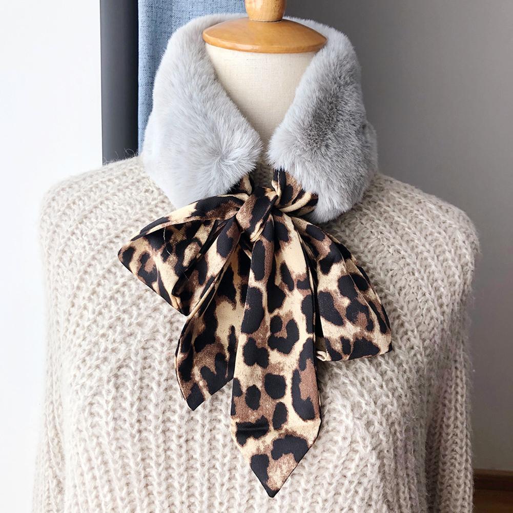 2020 Warm Faux Fur Tie Scarf Short Neckerchief Fall Winter Fashion Women Leopard Print New Fashion