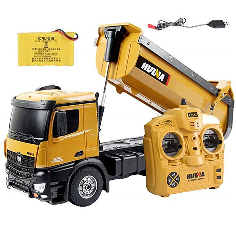 Huina 1573 RTR 2.4GHz 10 Canali 1:14 Remote Control <font><b>RC</b></font> Camion Discarica di <font><b>Auto</b></font>-scarica In Metallo <font><b>Auto</b></font> Dimostrazione LED luce <font><b>RC</b></font> Giocattolo image