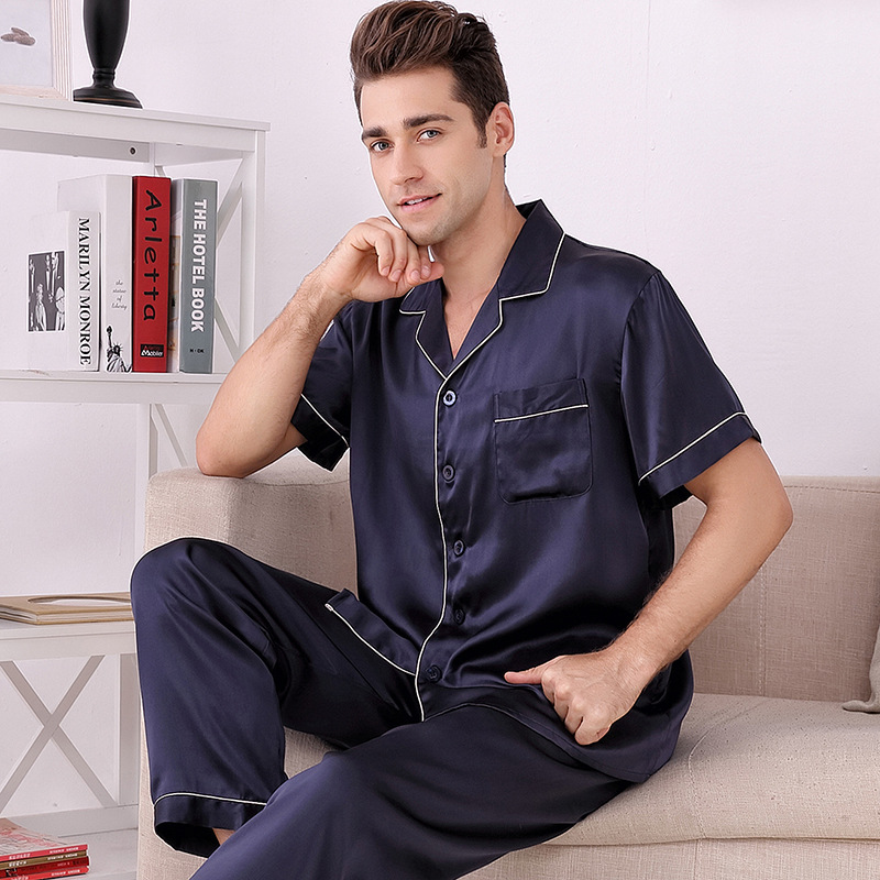 Silk Pajamas Men's Short-sleeved Split Set Pure Silk Pajamas Two-piece Set Home Clothing Wholesale Price Silk Pajamas For Men