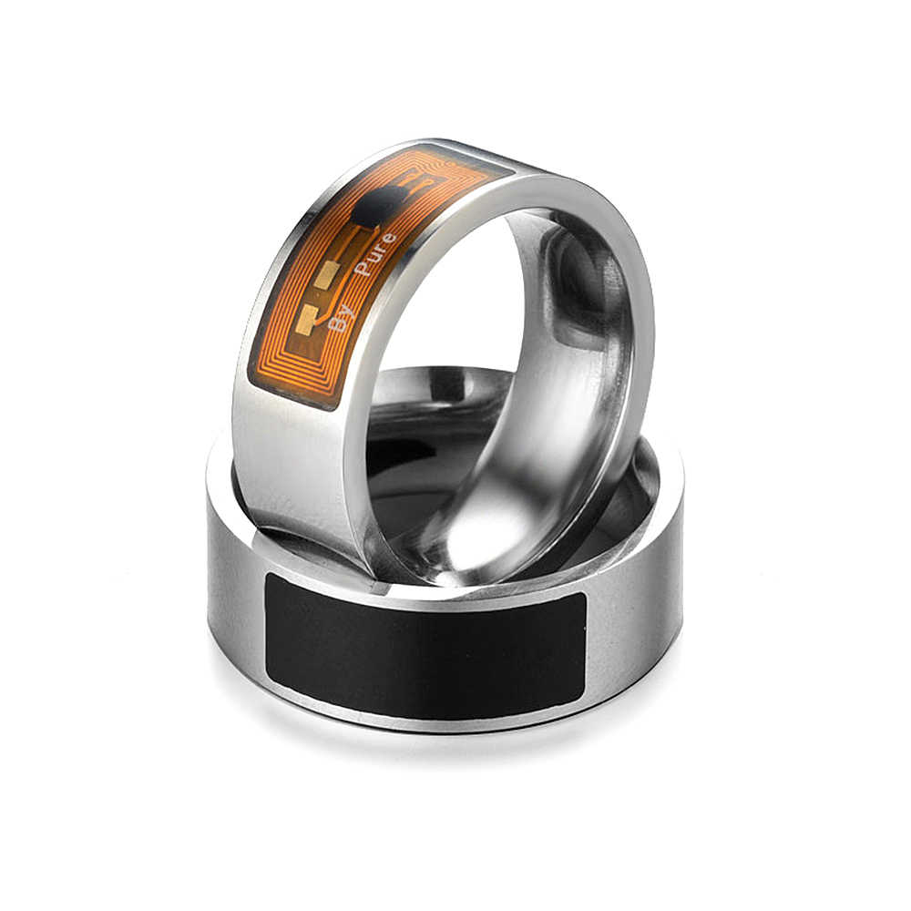 NFC Smart Cincin Stainless Steel Chip Cerdas Magic NFC Cincin IC ID Card untuk NFC Ponsel Tahan Air Natal hadiah