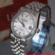 36mm PARNIS white dial 21 jewels automatic movement mens wat