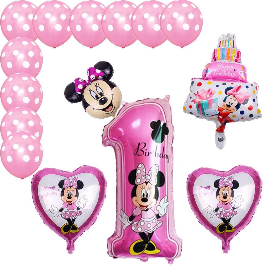Набор из 15 латексных шариков Минни Микки, голубой, розовый Микки, баллон гелия, украшения для свадьбы, дня рождения, Детские аксессуары