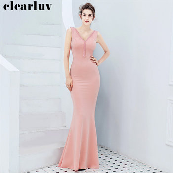 Beading Mermaid Evening Dress Plus Size Robe De Soiree DX273 Sleeveless Slim Women Party Dress 2019 New Pink V-Neck Formal Dress