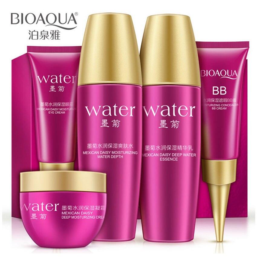 BIOAQUA Brand Skin Care Set Chrysanthemum Moisturizing Anti Aging Essence Serum Liquid + Eye Cream + Lotion+Day Cream + BB Cream