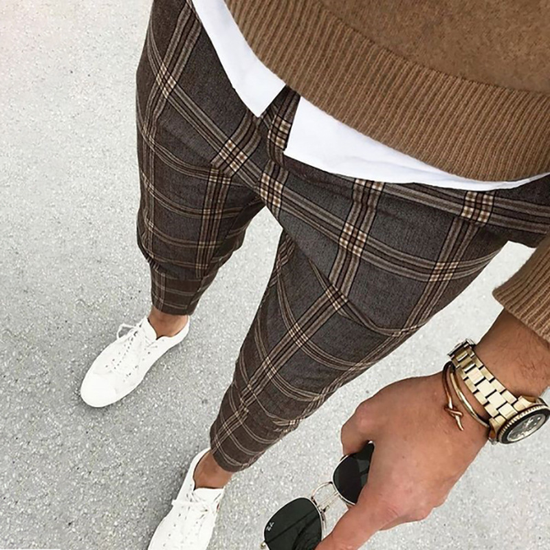 Classic Men Lattice Suit Pants 2020 Summer Thin Plaid Suit Trousers Casual Business Vintage Formal Pants For Wedding Party 2020