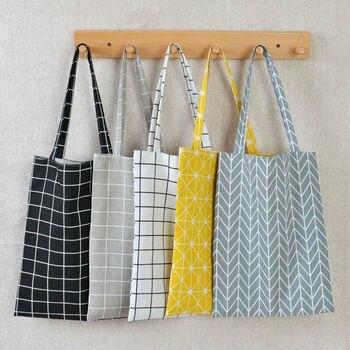 Women Cotton Linen Eco Reusable Shopping bags Shoulder plaid shopping Bag