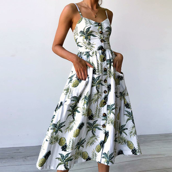 Ladies Fashion and Leisure Retro Sun Dress Summer 2020 Boho Sexy Dress Midi Button Backless Polka Dot Striped Floral Beach Dress