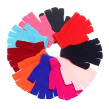 EIE Fashion Solid Short Half Finger Fingerless Wool Knit Wrist Glove Winter Warm Gloves Mittens for Women and Men Xmas Gifts