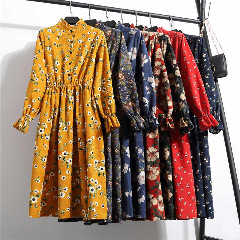 Hiver coréen imprimé fleurs femmes Kawaii robe Vintage à manches longues mi-mollet robe de soirée bouton o-cou Vestidos mignon vêtements