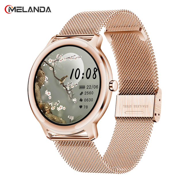 Super Slim Fashion Women Smart Watch 2021 Full Touch Round Screen Smartwatch for Woman Heart Rate Monitor For Android and IOS 1