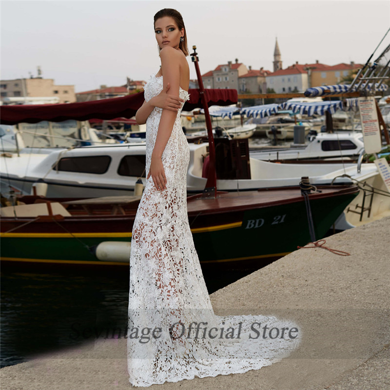 Sevintage 2 peças sereia vestidos de casamento boho destacável chiffon overskirt rendas vestidos de noiva querida robe de mariee 2020 - 2
