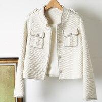 Autunno inverno bianco nero lana giacca classica donna perline fatte a mano cappotto di lana Tweed cappotto da tasca a manica lunga da donna