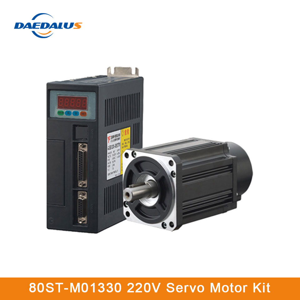 80ST-M01330 400W AC Servo Motor Drive Kit 220V 1.27N.M 15A AC Servo Motor Driver 3M Cable For CNC Machining Equipment