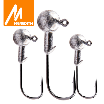 MEREDITH 10pcs/Lot High Quality 1.5g/2g/3.5g/5g/7g/10g/14g Lead Head Hook Jig Bait Fishing Hooks For Soft Lure Fishing Tackle aoclu bared no painting jig head lead sinker weights shots with lock pin 10pcs lot from 2g to 21g for soft lure jigging