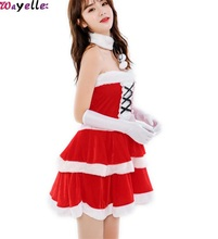 2019 Women's' Christmas  Garment Costumes And Hats Female Adult Velvet Girls Party Stage Performances Festival Show Red Clothes